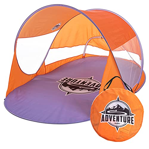 Pop Up Beach Tent, 3-4 Person Sun Shade Shelter with UV Protection, Portable Outdoor Instant Cabana Tent with Carry Bag for Summer Outdoor Activities Beach Party Camping (Orange)