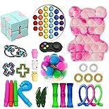 Juego de 28 juguetes sensoriales para inquietos, juguetes de burbujas push pop, caja de fidget barata con hoyuelos simples, sensoriales alivia la ansiedad del estrés para niños y adultos (A3-28)