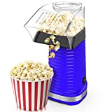 BIMONK Hot Air Popcorn Maker, Popcorns Machine, Home-Made Healthy Hot Air swirling Popcorn Popper 1200W BPA-Free, with Measuring Cup and Removable Top Cover(Blue)