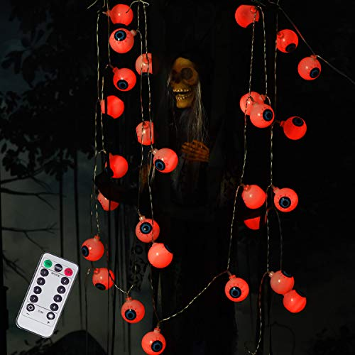 DAYLIGHTIR Eyeball Lights, 16ft 30LED Decoration for Outdoor, Indoor, Garden, Yard, Tree, Party (Red)