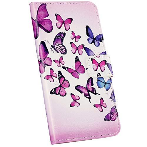 Ysimee Compatible avec Coque iPhone 11 Pro Portefeuille à Rabat Etui avec Fentes pour Cartes Housse en PU Cuir Motif Design Flip Case Couverture avec Fermeture Magnétique et Fonction Stand,Papillon