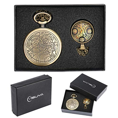 YISUYA Vintage Bronze Mechanical Hand-Wind Pocket Watch Hollow Steampunk Roman Number Dial Fob Watches for Men Women