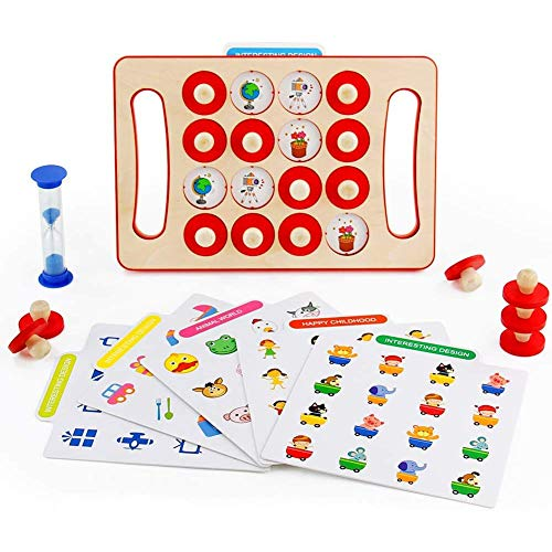 Yiyu Holzpuzzle Montessori Spielzeug Kinder, Ungiftig Übung Gedächtnis Und Koordination Holzspielzeug Lernspielzeug Mit Sanduhr Für Mädchen Jungen x (Color : Beige)