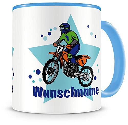 Samunshi® Kinder-Tasse mit Namen und einem MotoX Motorrad Fahrer als Motive Kaffeetasse Teetasse Becher Kakaotasse Nr.3: blau H:95mm / D:82mm