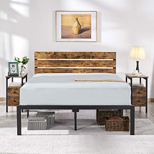 YAHEETECH Rustic Style Queen Size Platform Metal Bed Frame with Wooden Headboard and Footboard/Mattress Foundation/No Box Spring Needed/Under Bed Storage/Strong Slat Support