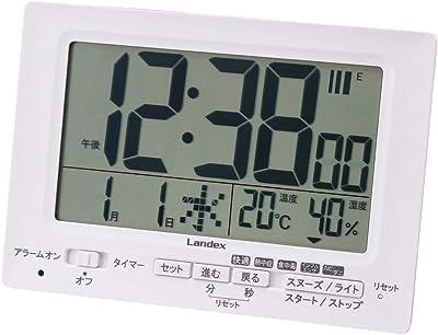 ランデックス(Landex) 目覚まし時計 電波 デジタル neoプラスタイマー タイマー 機能付き 常時点灯 置き掛け兼用 ホワイト YT5278WH