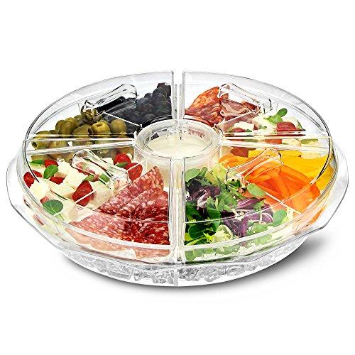 dine@drinkstuff On Ice Vorspeisen-Tablett mit 8 Abschnitten – eisgekühlte Aufteilungsplatte mit Dipbecher und Deckel für frische Snacks