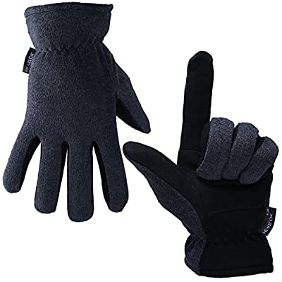 OZERO Deerskin Suede Leather Palm and Polar Fleece Back with Heatlok Insulated Cotton Layer Thermal Gloves, Medium - Grey-Black