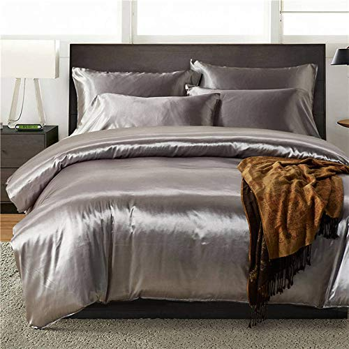 geek cook Four-piece bed, Silky Satin Bedding Set Grey Pillowcase Duvet Cover Soft Bedclothes US Twin Queen UK Double Bed Linen Set for Adults-No.05_US King 3PCS