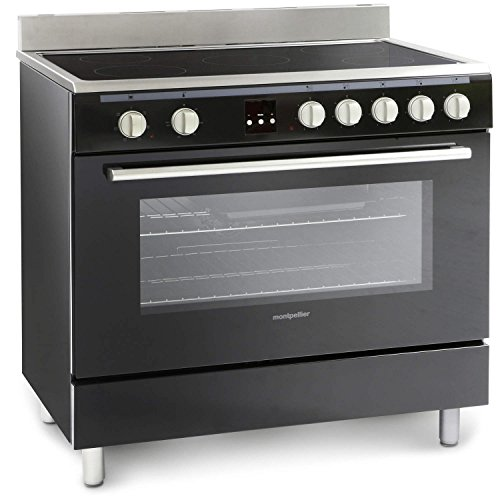 Montpellier 90cm Electric Single Oven Range Cooker With Ceramic Hob - Black