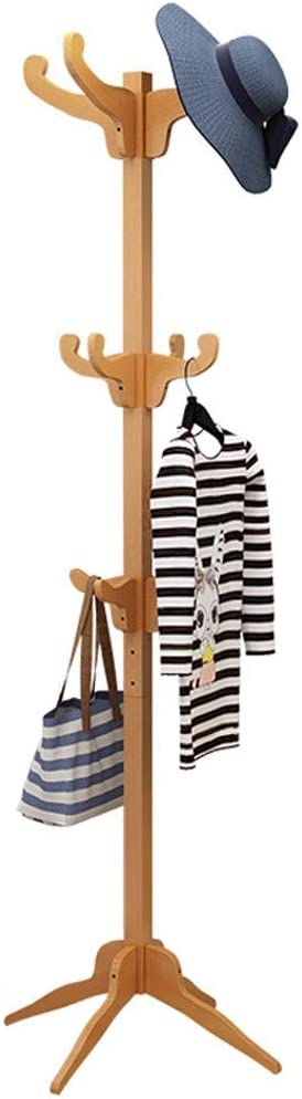 Shipping included MQH Coat Rack Solid Wood Hanger Si Bedroom Stand Floor gift