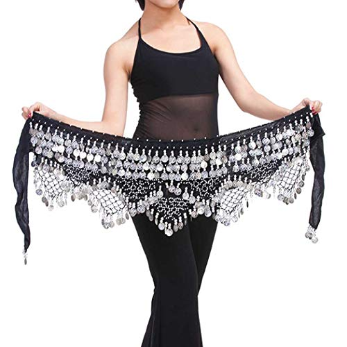 Zoestar Belly Dance Skirt Silver Coins Hip Scarf Multiplayer Hip Scarves Skirt Costume Performance Party Triangular Belly Dancing Belt for Women and Girls