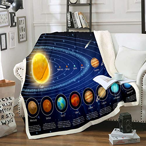 Solar System Sherpa Blanket Galaxy Outer Space Fleece Throw Blanket Kids Boys Girls Universe Planets Plush Blankets and Throws Super Soft Astronomy Fuzzy Blanket for Sofa Bed Couch 50'x60'