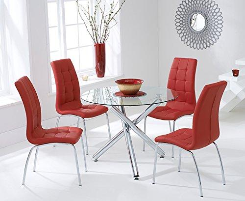Oak Furniture House Atene 100cm Rosso sedie e Tavolo da Pranzo in Vetro Set