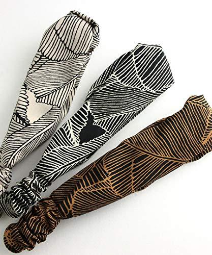[ヴァンテーヌ]VINGTAINEボタニカル柄ターバンヘアバンドツイストシンプル幅広ナチュラルヘッドバンドヘアアクセサリーHB-78-BR-ブラウン