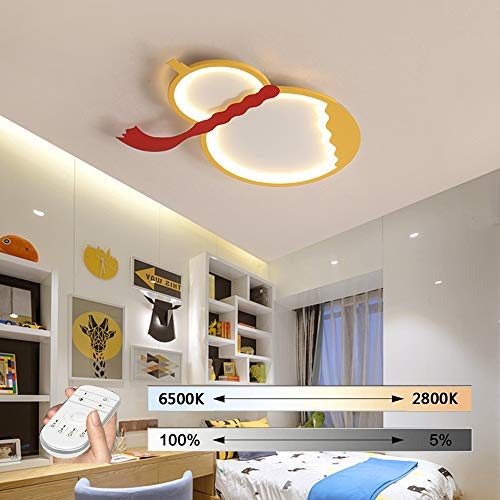 HIL plafondlamp voor kinderen, plafondlamp, led, creatief, geel, plafondlamp met afstandsbediening, dimbaar, ultralicht lamp, lamp voor kinderkamer, decoratie voor slaapkamer 55CM/24W