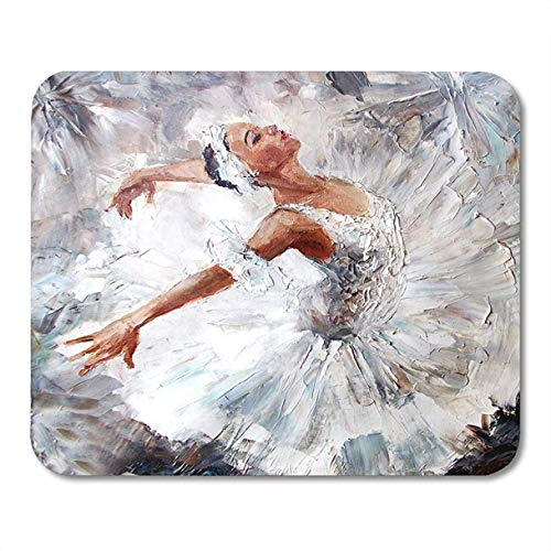 Alfombrillas de ratón gris ballet pintura al óleo niña bailarina dibujada linda bailarina artista de la danza alfombrilla de ratón para computadora portátil, accesorios de computadoras de escritorio m