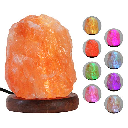 Pursalt USB Himalayan Salt Lamp Night Light, Natural Small Crystal Pink Salt Rock Lamp with 8 Colors Changing, Hand Carved Taly Wood Base, Real Himalayan Salt Lamp from Pakistan for Christmas Gifts