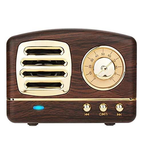 COOLEAD Altavoz portatil Bluetooth Vintage Mini Efecto del Sonido HiFi Envolvente estéreo 3D Bluetooth 4.1+EDR batería de Litio (cafe)