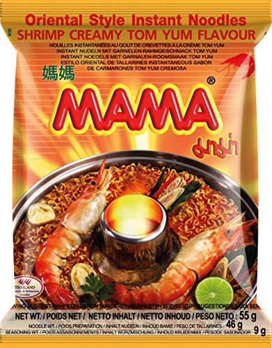 MAMA Instantnudeln Tom Yum mit Shrimpsgeschmack – Cremige Instantnudelsuppe orientalischer Art – Authentisch thailändisch kochen – 30 x 55 g