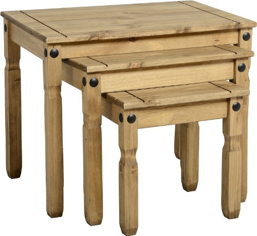 Seconique Corona Nest Of Tables in Distressed Waxed Pine