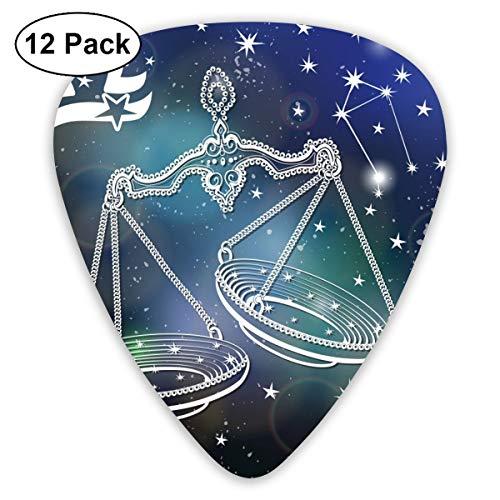Rterss Weegschaal Vintage Horoscoop Constellatie Sterren Sampler Gitaar Pick Klassieke Picks 12-pack Voor Elektrische Gitaar Akoestische Gitaar Mandoline En Bas Gepersonaliseerd