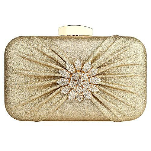 Party-Clutch-Handtasche mit Rosenblüte, Glitzer, Abendtasche, Brautschmuck, Cocktail-Clutch, Handtaschen für Frauen, Mädchen, Damen, Braut, Brautjungfer Gr. One size, gold