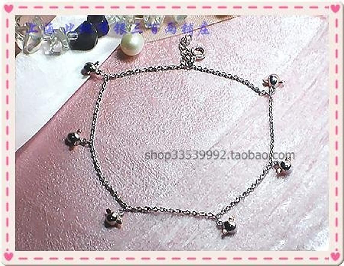 TKHNE The rhodium Lovely angel wing silver silver silver Foot Chain anklet ankle chain egg shape also can drill bracelet 4