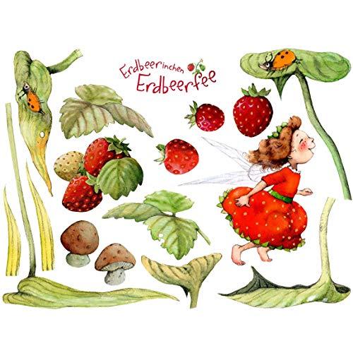 Bilderwelten Wandtattoo Erdbeerinchen Erdbeerfee Blätter und Erdbeeren, Größe: 30cm x 45cm