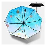 DZX Parapluies de Soleil pour Femme Lady Rain Sunny Umbrella 3 Pliant 8 Ribs Sunshade Wind Resistant Frame (Color: Blue)