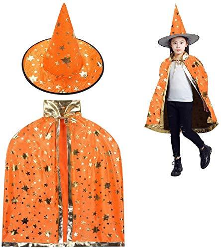 Rmeet Sombrero de Brujo de Halloween,Infantil Capa de Halloween con Sombrero de Mago para Nios Nia Disfraz de Cosplay Fiesta Estilo de Estrella Naranja