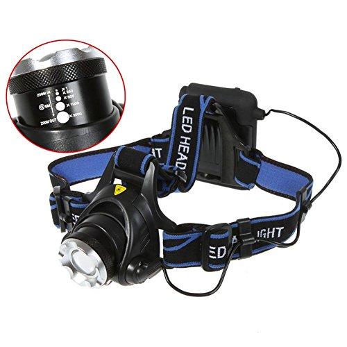 SmartEra® Lampe Frontale LED puissante rechargeable Luminaire CREE XM-L T6 LED pour VTT Cycliste,Randonnée,Caverne,Running,pêche,Chasse de nuit