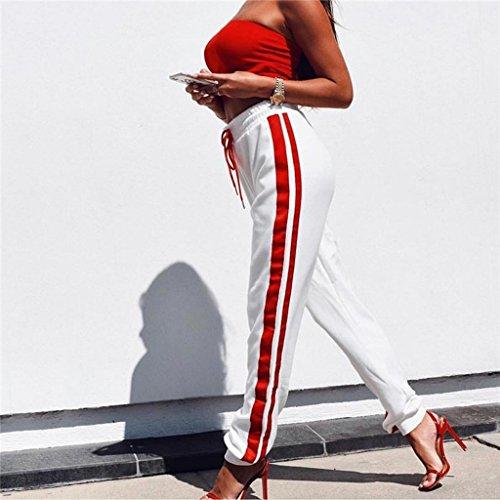 Brilliant firm Sidebars frappé Couleur Pantalons décontractés Taille Haute Nouveaux Pantalons Super-feu Harlan Pantalons (Color : Blanc, Size : M)