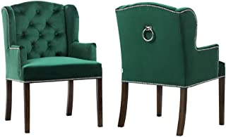 Belle Fierté Juego de 2 sillas tradicionales de terciopelo con tachuelas para comedor, ocasional, acento (verde)