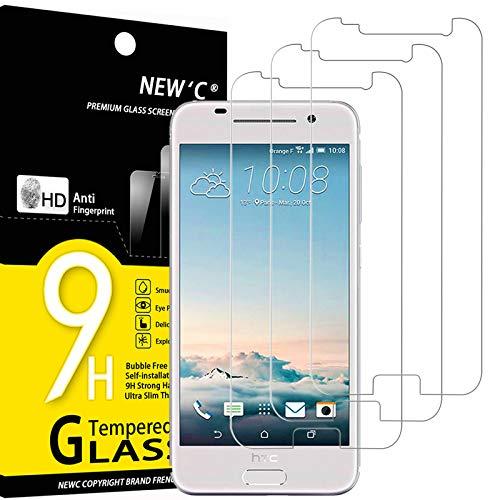 NEW'C 3 Unidades, Protector de Pantalla para HTC One A9, Antiarañazos, Antihuellas, Sin Burbujas, Dureza 9H, 0.33 mm Ultra Transparente, Vidrio Templado Ultra Resistente