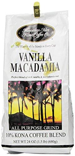 Hawaiian Isles Coffee Co. Vanilla Macadamia 24 oz grind
