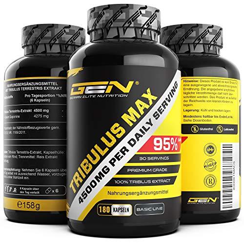 Tribulus Max - 180 Kapseln - 750 mg - 95% Saponine - Hochdosiertes Tribulus Terrestris Extrakt - Premium Grade - German Elite Nutrtion