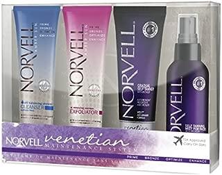 Norvell Venetian Self-Tanning Maintenance Kit - Renewing Exfoliator (2.5 oz), Body Buff eXmitt (Single), Venetian 4-Face (2 oz), pH Balancing Cleanser (2.5 oz), Venetian Gradual Self Tanner (2.5 oz)