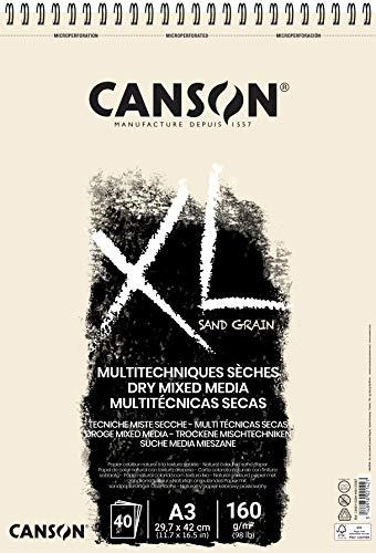 Canson XL - Bloc de dibujo con superficie tipo papel de arena, DIN A3, 40 hojas, 160 g/m2, color beige