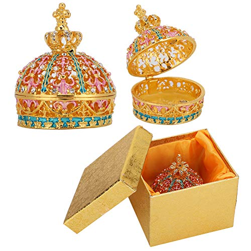 Fdit Enameled Crown Jewelry Box Metal Crafts Storage Ring Trinket Case Christmas Birthday Gift Enamel Painted Ornaments Home Decoration