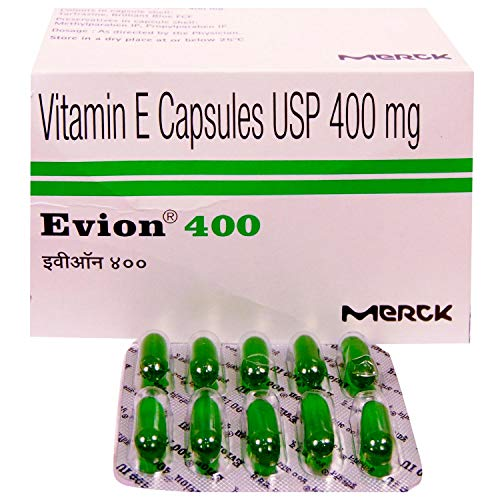 200 Evion Capsules Vitamin E For Glowing Face,Strong Hair,Acne,Nails, Glowing Skin 400mg…