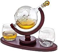 ワインデカンタ ウィスキーデカンタ地球儀は2つのエッチングされたグローブウィスキーメガネでセットされています。ウィスキー愛好家のための鉛フリーのクリスタルガラス デキャンタ