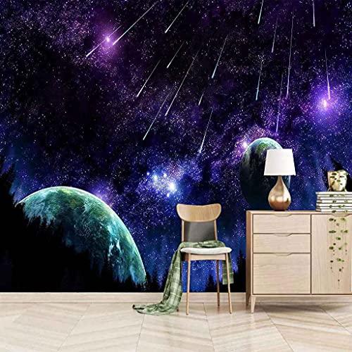 SUUKLI Papel Pintado Pared 3D Dormitorio Fotomurales Tela No Tejida Lluvia De Meteoros Cielo Púrpura Autoadhesivo Murales Decoración De Pared Salón Dormitorio Moderna De Diseno Fotográfico 350X256Cm
