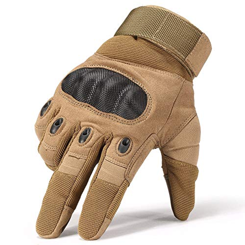 Fuyuanda Tactical Gloves Men`s Full Finger Gloves Hard Knuckle Protective Gear Gloves for Motorcycle Shooting Riding Cycling Biking Paintball Racing