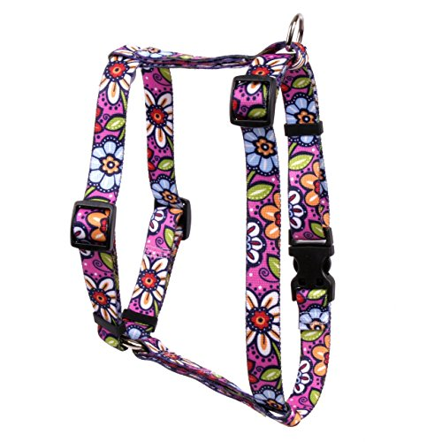 Yellow Dog Design Pink Garden Roman Style H Dog Harness, Large-1