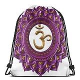 XCNGG Bolsas con cordón Vivid Digital Mandala Circle con letras de Chakra Secret Power of Zen Image Tema de yoga Mochila con cordón unisex Bolsa deportiva Bolsa de cuerda Big Bag Bolsa de asas con cor