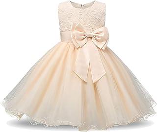 a674891197c69 Minetom Robe Filles Cérémonie Bébés Enfant Robes de Bal Mariage  Anniversaire Fête Dentelle Fleurs 3D Nœud