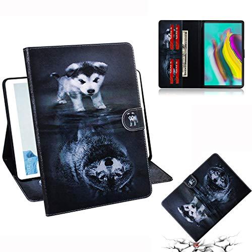 Careynoce Galaxy Tab S5e Hoes, Geschilderd Patroon PU Leer Magnetisch Boek Flip Portemonnee Tablet Case voor Samsung Galaxy Tab S5e SM-T720/T725 10.5 inch 2019 met Auto Sleep/Wake Functie, Wolf, CH-01