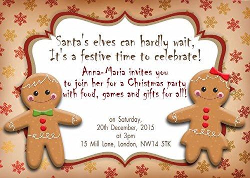 10 x Invitation de fête de Noël enfants personnalisés