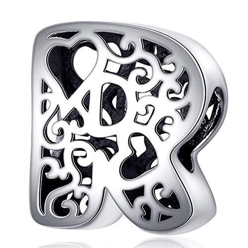 ZiFouDou Abalorio para Pulsera Pandora&Chamilia,Abalorio de Plata de Ley 925,Originales Bead Charm para Collare -Alfabeto Letras R